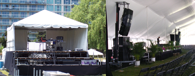 stage rises and stage tents