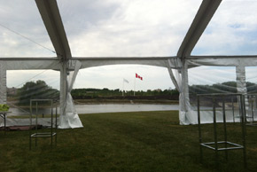 40' wide arch span clear with clear wall - interior
